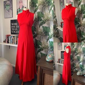 Vintage 60's/ 70's Red maxi dress